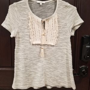 Anthropologie Eri + Ali Boho Peasant Top Gray sz M